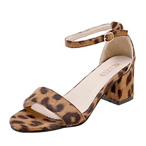 Hurrybuy Women's Platform Dress Pump Sandals Ankle Strap Block Clear Chunky Heels Party Leopard Print Sandals Brown ()