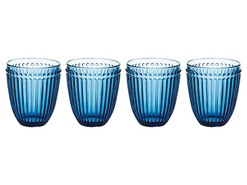Mikasa Italian Countryside Double Old Fashioned Glass, Blue, 10-Ounce, Set of 4 (Fashioned Double Old Gem)