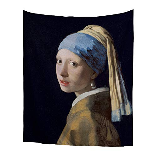 World Classic Art Masterpiece Tapestry Series Girl with A Pearl Earring Johannes Vermeer 1665 Classical Art Tapestry Wall-Hanging Antique Vintage Collection Home Décor