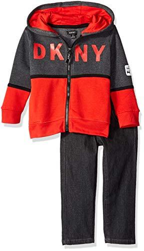 DKNY Boys' Toddler Lagoon Avenue Fleece Hoody and Black Denim Jean, (Toddler Boys Black Denim)