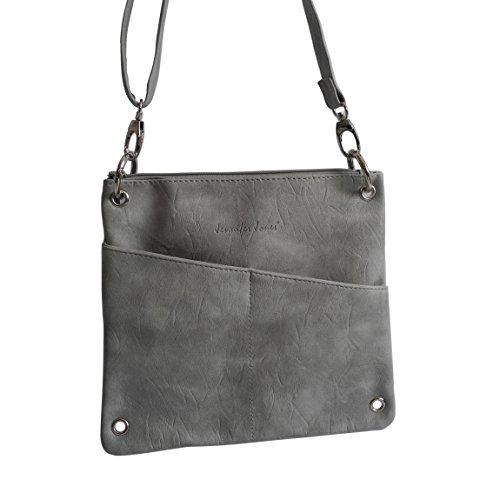 schicke 2 in 1 Handtasche von Jennifer Jones - Umhängetasche , Damen-Tasche , Shopper , Schultertasche , Abend-Tasche - ( Grau ) - präsentiert von ZMOKA® Hellgrau