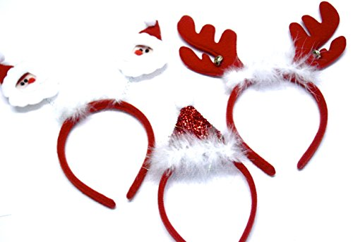 Girls Christmas Santa Claus and Feathers Deeley Bopper Alice Hair Band Headband