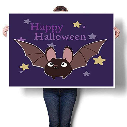 (Anyangeight Wall Art Oil Paintings Happy Halloween Bat Decorative Fine Art Canvas Print Poster K 36