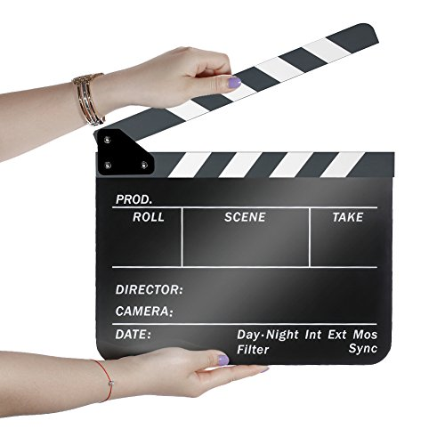 Neewer Acrylic Plastic 10x12in/25x30cm Dry Erase Director's Film Movie Clapboard Cut Action Scene Clapper Board Slate with White/Black Sticks ()