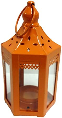 Just Artifacts Decorative Candle Lantern 6-inch Height Hexagon Design w//Ring Hook Green