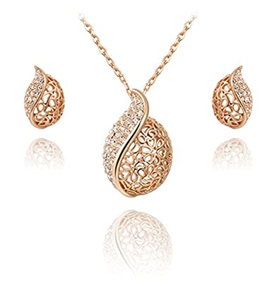 TIDOO Jewelry Fashion Womens Rose Gold Plated Hollow Leaf Earring Necklace Jewelry Sets With Austrian Crystal And Cubic Zicons 100% Man-made Trendy Elegance ,Best Gift For Mother's Day Lover Party Wedding Anniversary Engagement Valentine's Day And Christm