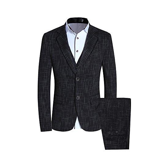 CCXO Men's One Button 3-Piece Suit Single-Breasted Notch-Lapel Slim Fit Tux (XXL, Black)