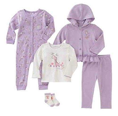 absorba Infant 5-Piece Set (Jacket, Shirt, Bodysuit, Pant and Socks) (9 Months, Lilac Club)