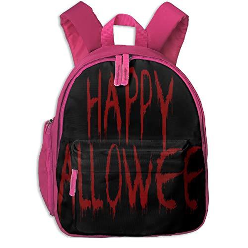 Bloody Happy Halloween Double Zipper Waterproof Children Schoolbag With Front Pockets For Kids Boys Girl
