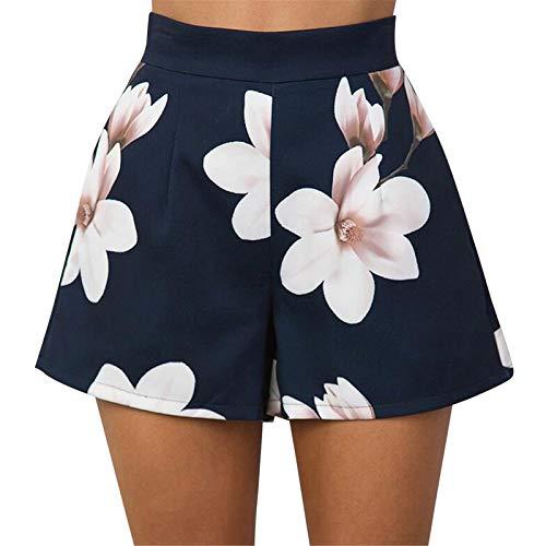 Thenxin Women's High Waist Short Trouser Zipper Up Floral Print Wide Leg Hot Pants Culotte(Navy,M)