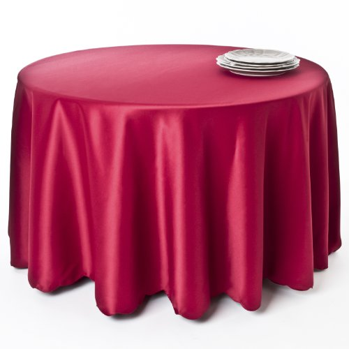 Satin Design Scalloped (SARO LIFESTYLE LN201.R108R Tablecloth Liners with Satin Sheen and Scalloped Edge, Red, 108