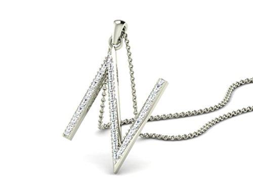 Or Blanc 18 ct Pendentifs Diamant en forme de N alphabet, 0.15 Ct Diamant, GH-SI, 1.3 grammes.