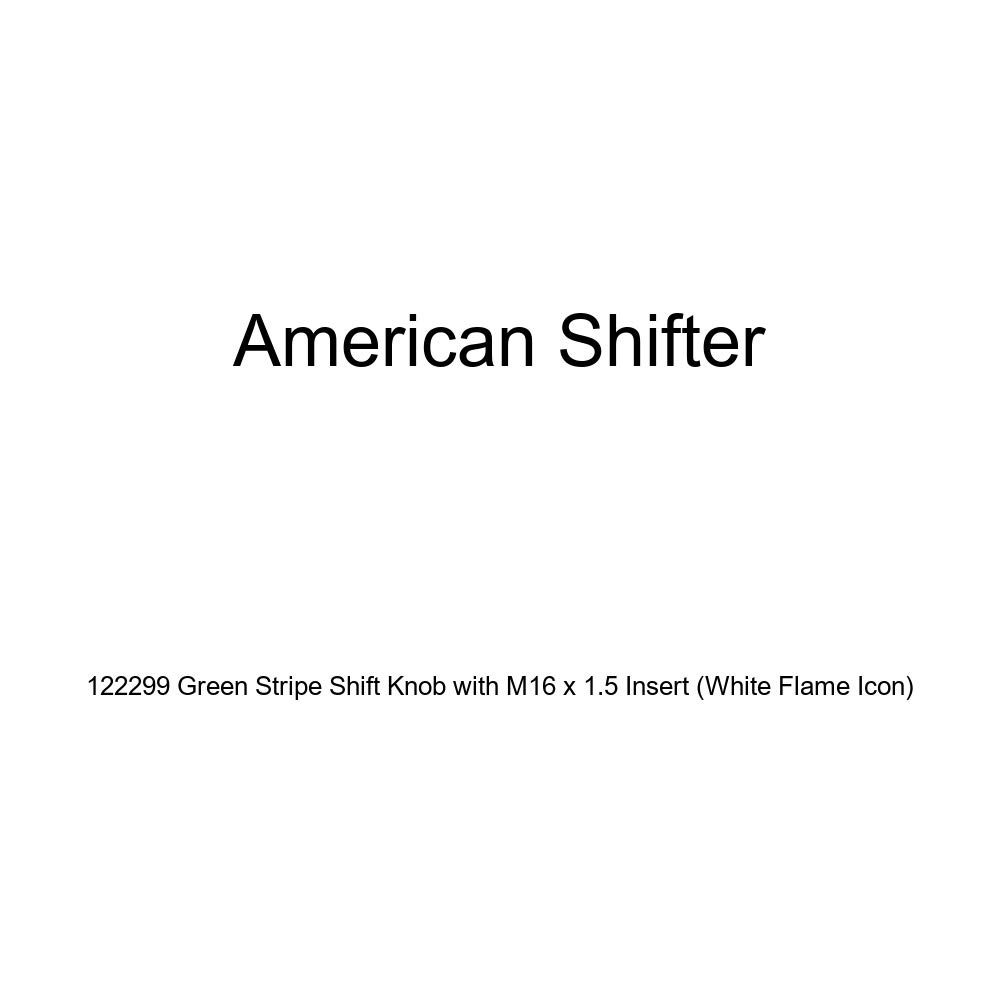 American Shifter 122299 Green Stripe Shift Knob with M16 x 1.5 Insert White Flame Icon