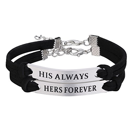 0ff76bb3b2 Udobuy Stainless Steel His Always Hers Forever Bracelets Set For  Couples,His And Her Couples