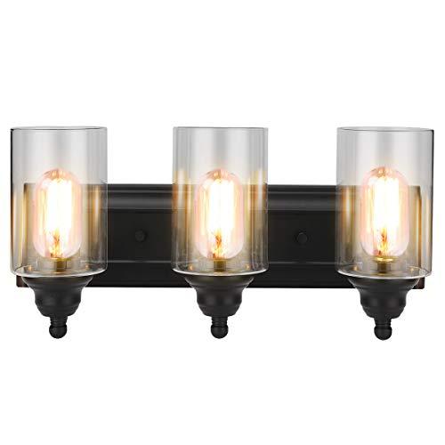 (3-Light Vanity Light Fixture Modern Clear Glass Shades Lighting Black Dining Room Lighting Fixtures (3-Light))