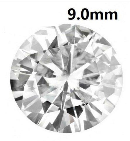 Gowe Certifié 2,25carats Charles Colvard Créé Blanc Charles pierres précieuses pour bijoux 9,0mm Near Incolore