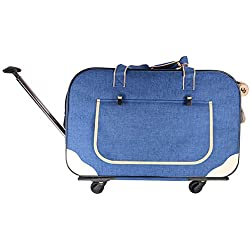 Upgrade Pet Travel Carrier, Pet Dog Cat Breathable Four-Wheeled Trolley Case, Large Space Adjustable Lever Removable Mute Wheel Dog Cart,Blue