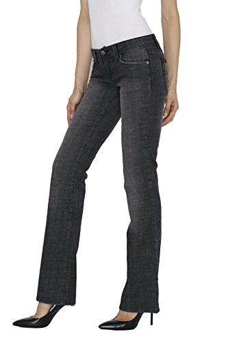 Blue Star Women's Boot Cut Midrise Jeans - Distressed Stretch Black Size 28 ()