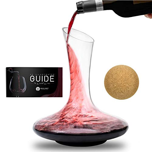 Wine Decanter Gift Set With Stopper – Premium Red Wine Aerator Glass Carafe – Large 100% Hand Blown Lead-Free Wine Breather with Accessories – New Updated Version