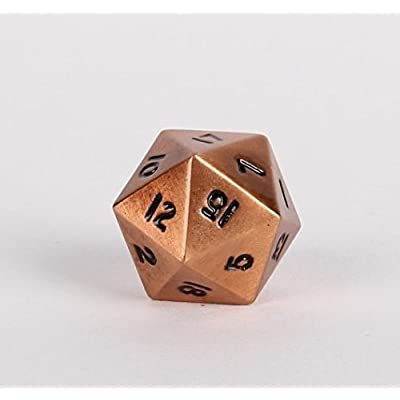 Legendary Copper Metal D20 Dice - Single 20 Sided RPG Dice: Toys & Games