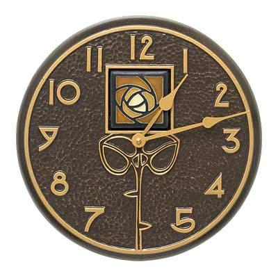 Whitehall Products Amber Dard Hunter Rose Clock, French Bronze