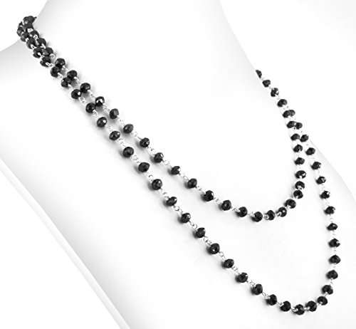 Barishh 70 Cts 3mm 36 inches Black diamond Beads Necklace with Silver wire by Barishh