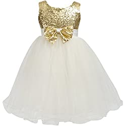 Merry Day Flower Baby Girl Sequin Dress - Kids Princess Pageant Party Wedding Dresses Gold 5-6 Years