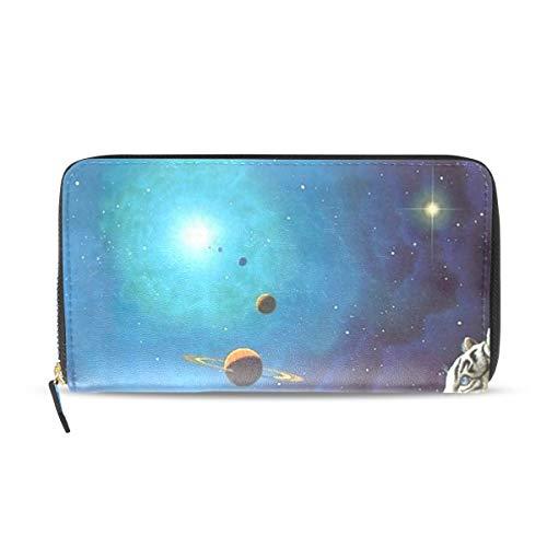 (Womens Wallets White Tiger Galaxy Abstract Art Leather Passport Wallet Coin Purse Girls Handbags)