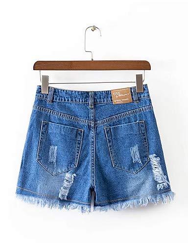 YFLTZ Blue Jeans Haute Slim Unie Taille Femme Couleur rrq0Zw6C