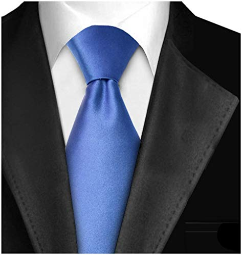 Ties For Men Necktie 3in Satin Finish Handmade Neck Tie With Gift Box Solid Color - Blue