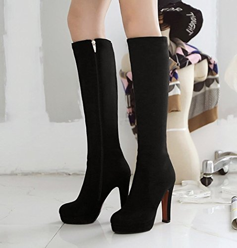 Women's Long Black Carolbar Boots Heel Zip High Chic Fashion Block Platform d68q6fTwn