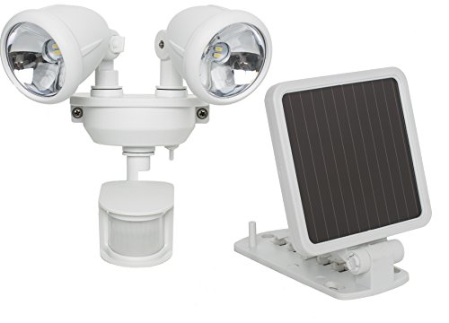 MAXSA Solar-Powered, Motion-Activated Dual Head Security Spotlights for lighting up Outdoor Spaces, White 44217 by Maxsa Innovations