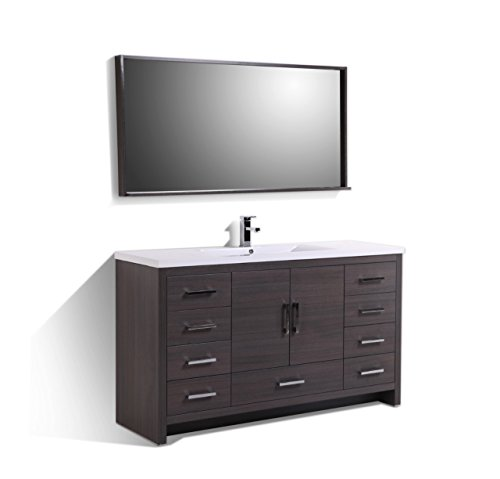 moreno moa 60 gray oak modern bathroom vanity w single acrylic sink amazoncom - Bathroom Cabinets Kzn