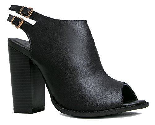 Peep Toe Bootie -Stacked high Heel - Open Toe Ankle Boot Cutout Ankle Strap