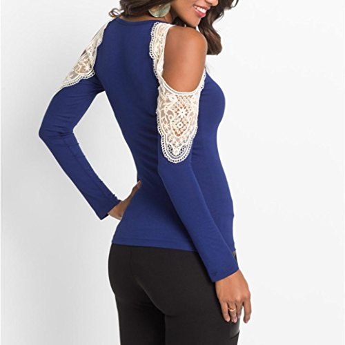 Shirt Manica Tops Blu Moda Da Camicetta Maglietta T Casual Blouse Donna shirt Shoulder Floreale Lunga Off Cerniera Abbigliamento Cotone Donne Oyedens UnTpRq