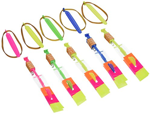 GF Pro G-Flyer Party Toy Amazing Flying Led Light Arrow Rocket Helicopter Elastic Powered Fun Gift (5 Pack)
