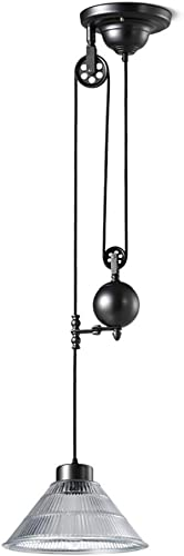 HAIXIANG Edison Pulley Pendant Lamp Chandelier Lighting Ceiling Light Adjustable Wire Glass Retro Industrial Light Fixture Hanging Lamp 1 Head