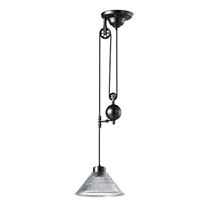 Haixiang Glass Edison Vintage Loft Industrial Pulley Pendant Lights