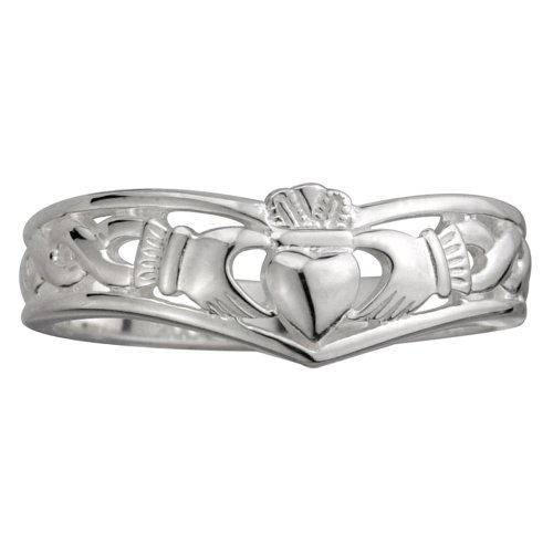 Failte Claddagh Ring Ladies Wishbone Sterling Silver Sz 7