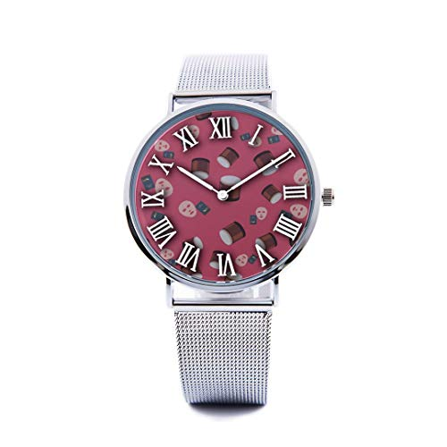 Unisex Fashion Watch Mask Skin Care Products Hand-Painted Print Dial Quartz Stainless Steel Wrist Watch with Steel Strap Watchband for Men Women 40mm Casual Watch