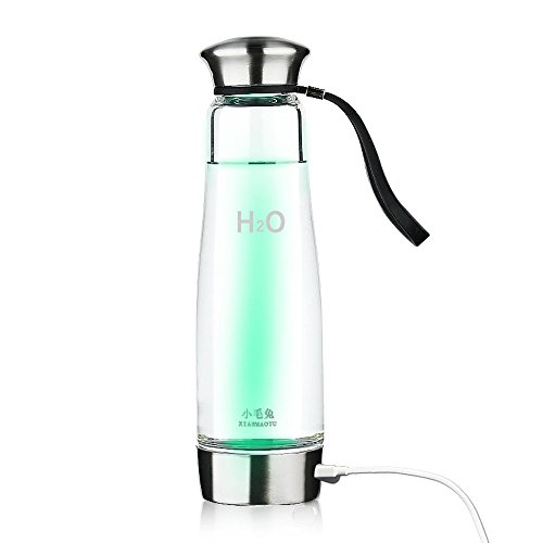 Anself 500ML Portable Hydrogen Water Ionizer Bottle Maker Generator Glass Water Pitcher BPA-Free W/Self-Cleaning Function & Lid Cup (Type 2)
