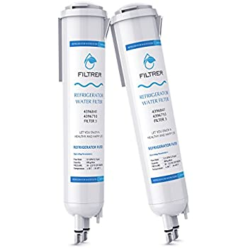 Whirlpool Refrigerator Water Filter for Pur 4396841 4396710 EDR3RX1 Filter 3 and Kenmore 9030 by Upsante (2 PACK,White)