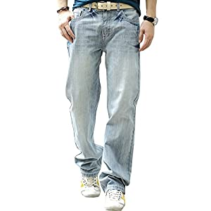 YOYEAH Men's Fashion Big Loose Relaxed Straight-Leg Jeans