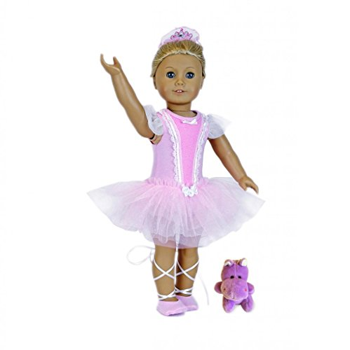 "Sparkly Ballerina (18"" Doll Clothes: 5 Pc. Birthday Ballerina - With Pink Sparkle Leotard-Sparkle Tutu Skirt- Sparkle Slippers-Scrunchy w/ Crown-Plush Hippopotamus Friend Toy- Fits American Girl Dolls and more..)"