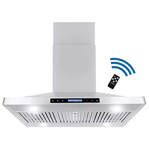 Cosmo COS-63ISS90 Ducted Island Range Hood | 760 CFM, 3 Speed Fan, Touch Screen, Permanent Filters with LED Lighting, 36 inch, Stainless Steel
