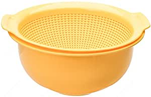 M.V. Trading K808YE 2-in-1 Washing Vegetables Basin with Stainer Basket, 9½-Inches, 3-Quarts
