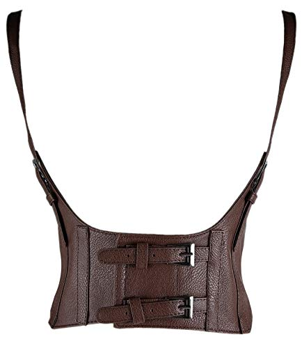 Alivila.Y Fashion Womens Faux Leather Underbust Waist Belt Steampunk Corset Vest AS577-Dark Brown-S]()