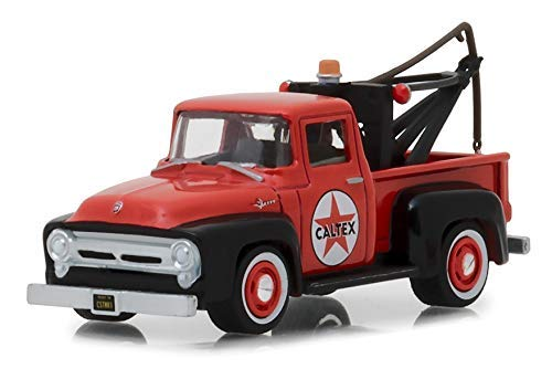 (Greenlight 1956 Ford F-100 Tow Truck Red with Drop-in Tow Hook Caltex Running on Empty Series 6 1/64 Die-cast Model Car)