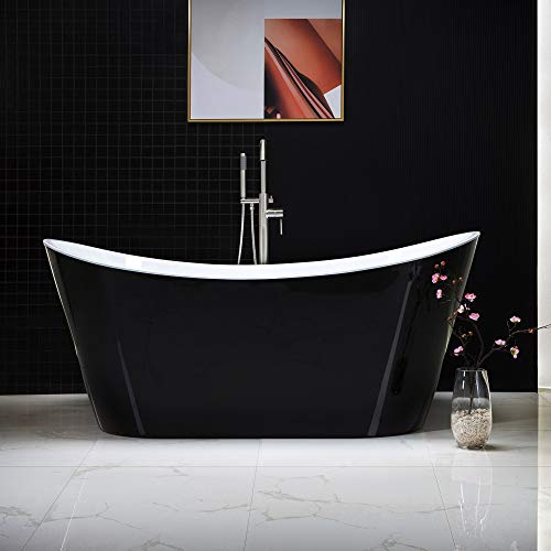 "WOODBRIDGE Acrylic Freestanding Bathtub Contemporary Soaking Tub with Brushed Nickel Overflow and Drain, Color, 67"" B-1815 Black"