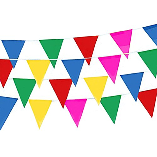 125 Feet Multicolor Triangle Nylon Fabric Pennant Banners Flags,100 Pieces Colorful Flags Per String for Festival Party Celebration Events Decoration